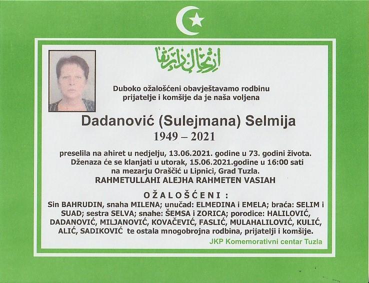 Preminula je Selmija Dadanović