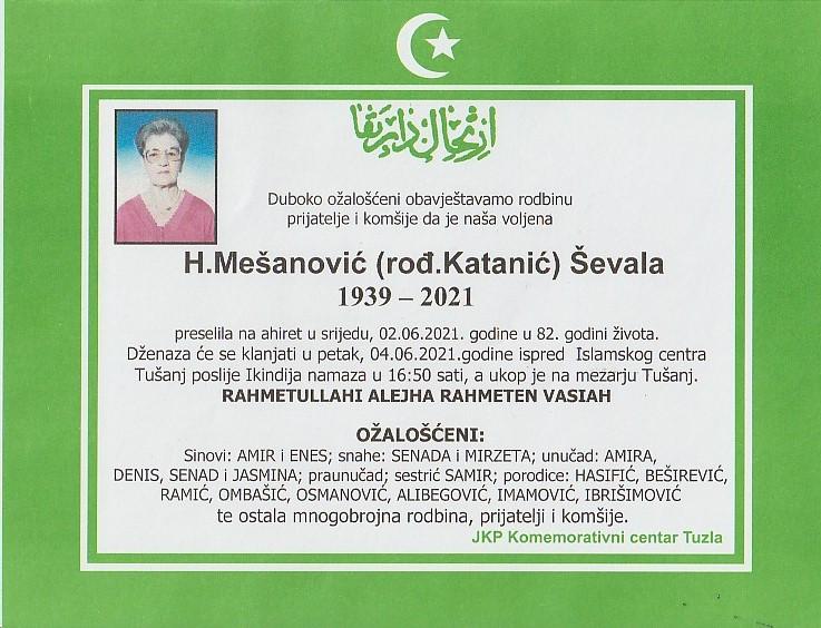 Preminula je Ševala H. Mešanović