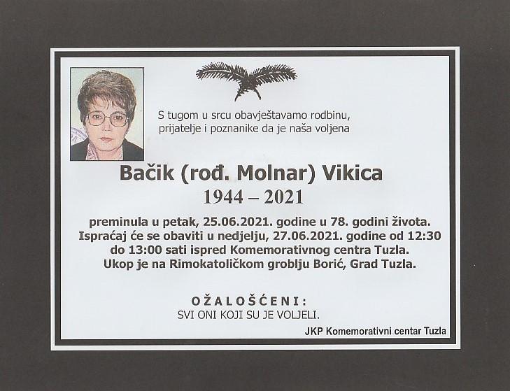 Preminula je Vikica Bačik