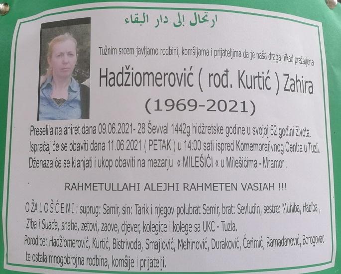 Preminula je Zahira Hadžiomerović