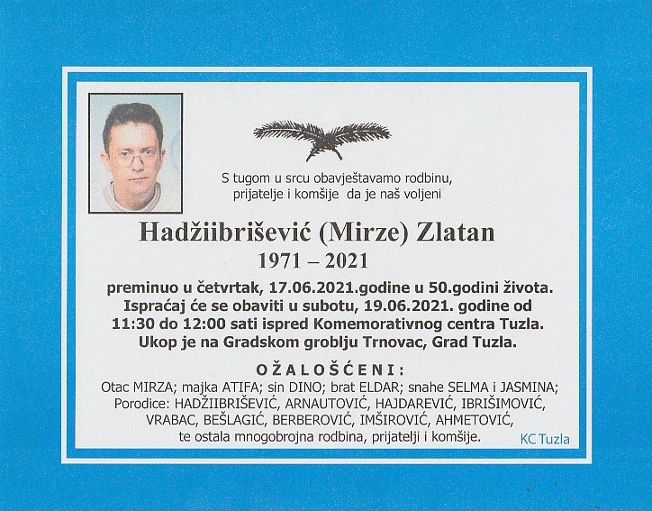 Preminuo je Zlatan Hadžiibrišević
