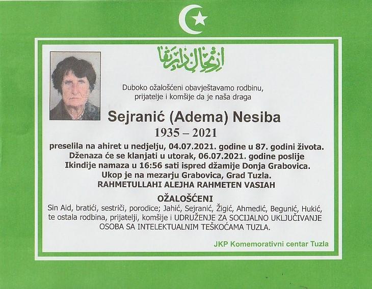 Preminula je Nesiba Sejranić
