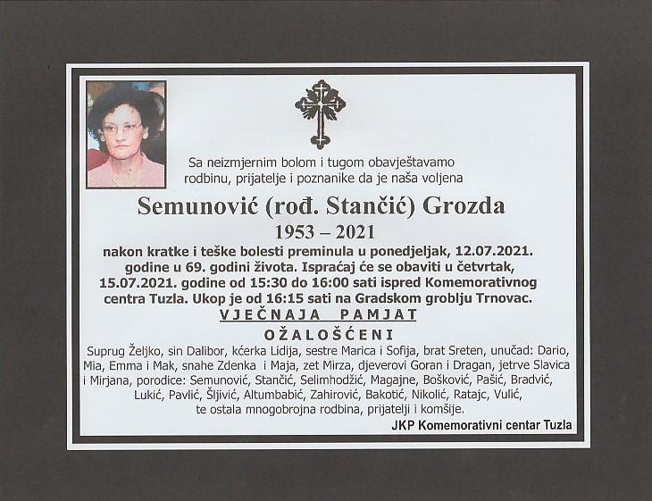 Preminula je Grozda Semunović