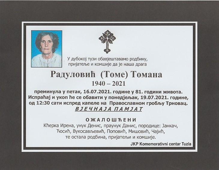 Preminula je Tomana Radulović