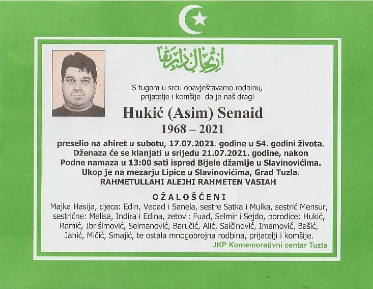 Preminuo je Senaid Hukić