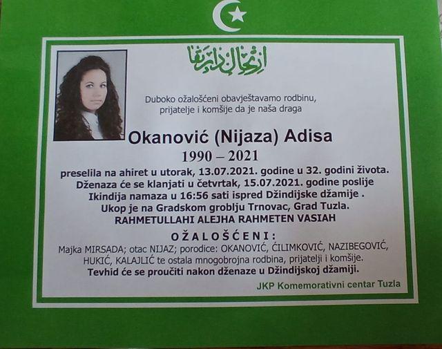 Preminula je Adisa Okanović