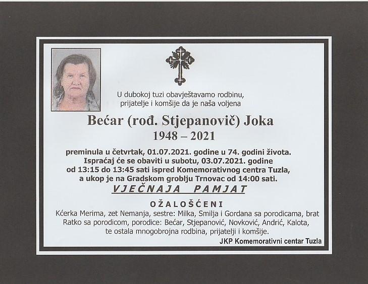Preminula je Joka Bećar