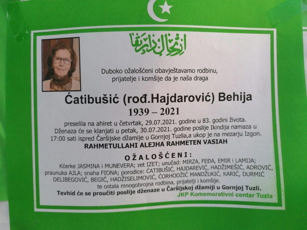 Preminula je Behija Ćatibušić