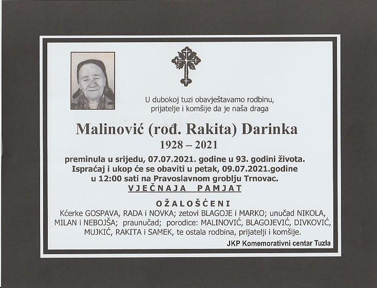Preminula je Darinka Malinović