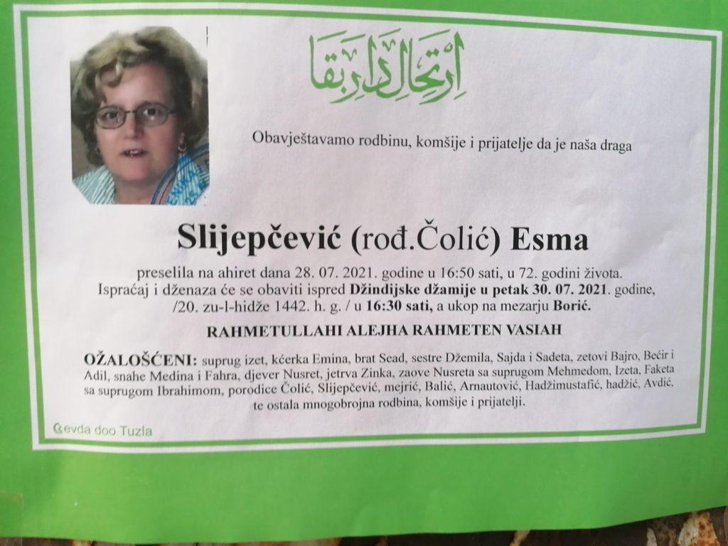 Preminula je Esma Slijepčević
