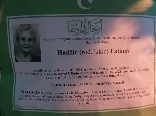 Preminula je Fatima Hadžić
