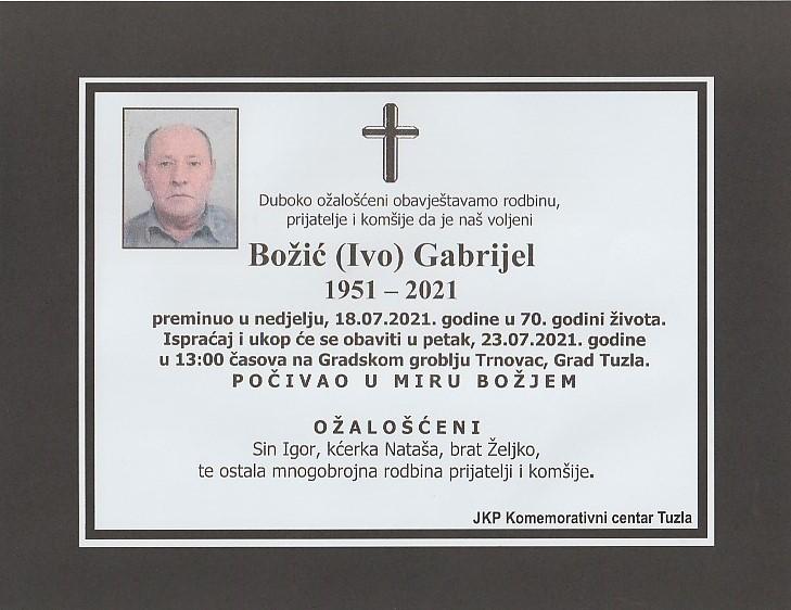 Preminuo je Gabrijel Božić