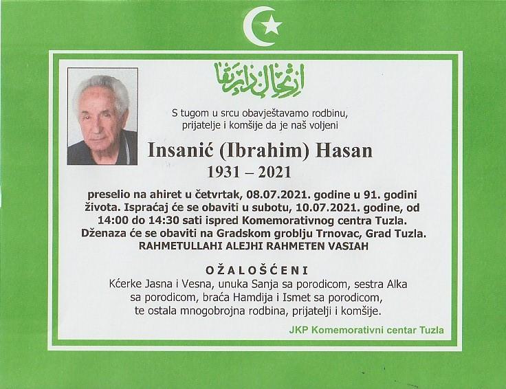 Preminuo je Hasan Insanić