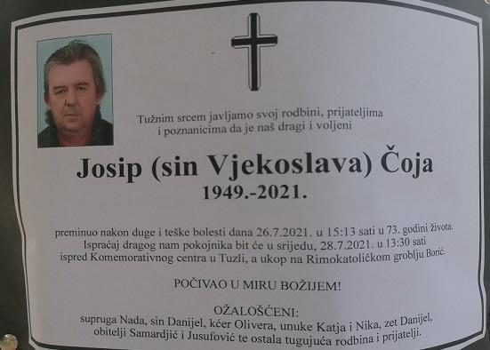 Preminuo je Josip Čoja