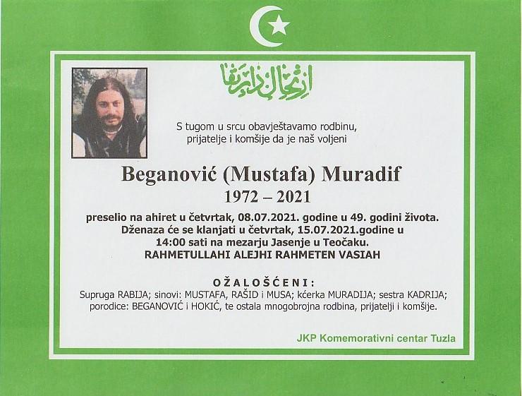 Preminuo je Muradif Beganović