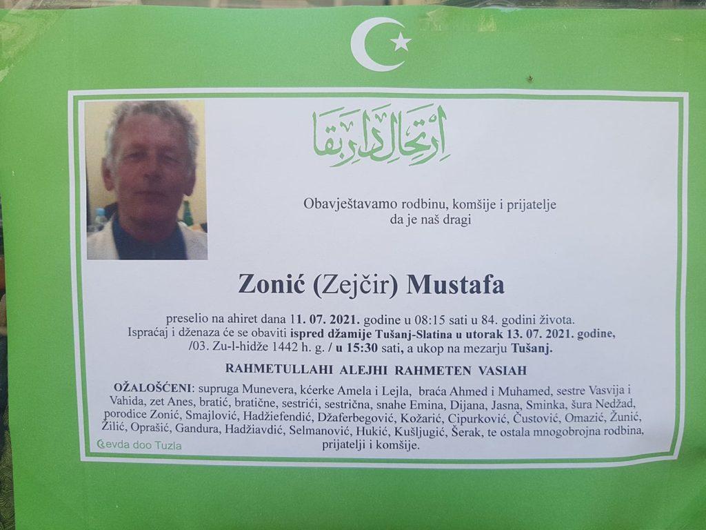 Preminuo je Mustafa Zonić