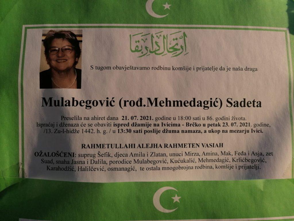 Preminula je Sadeta Mulabegović