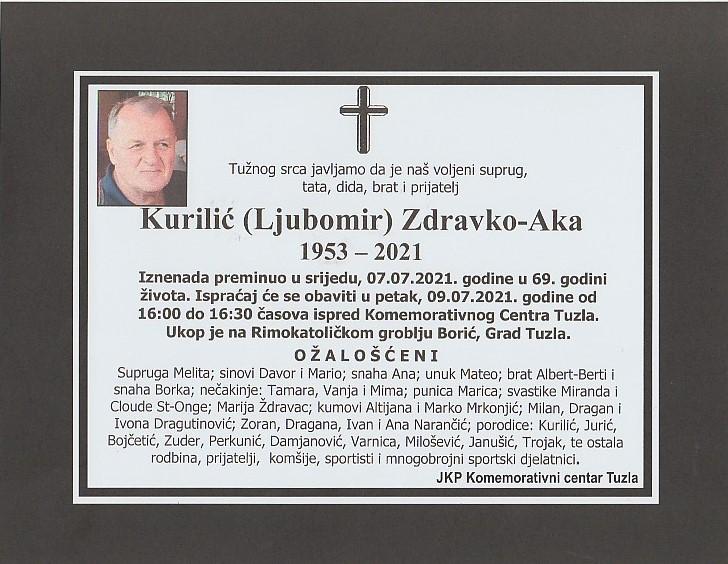 Preminuo je Zdravko Kurilić Aka