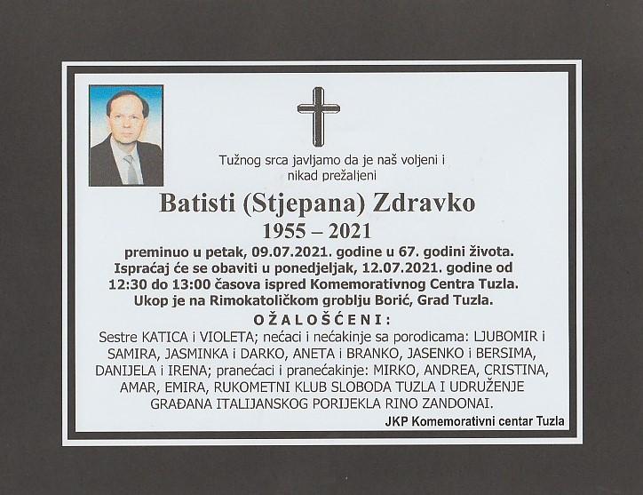 Preminuo je Zdravko Batisti