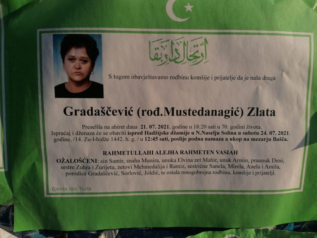 Preminula je Zlata Gradaščević