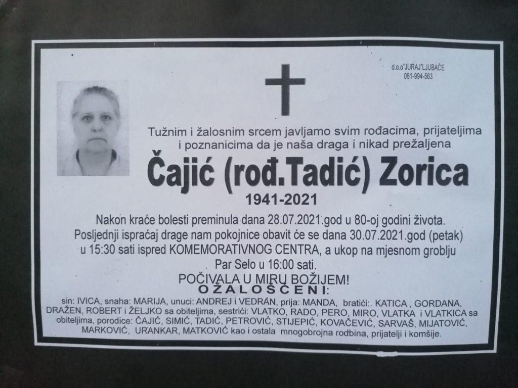 Preminula je Zorica Čajić