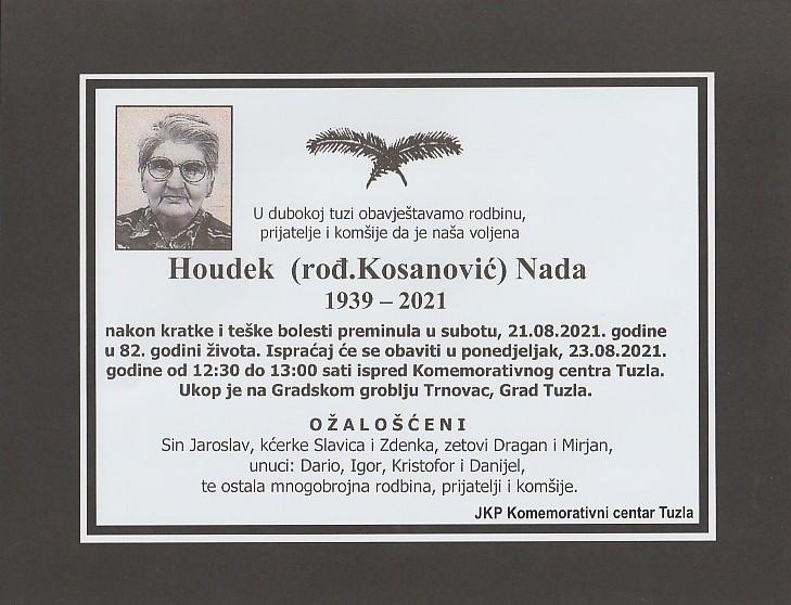Preminula je Nada Houdek