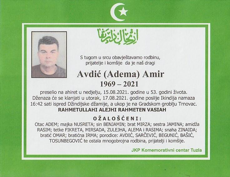 Preminuo je Amir Avdić