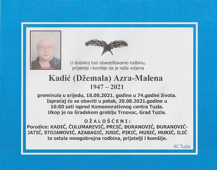 Preminula je Azra Kadić Malena