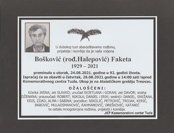 Preminula je Faketa Bošković