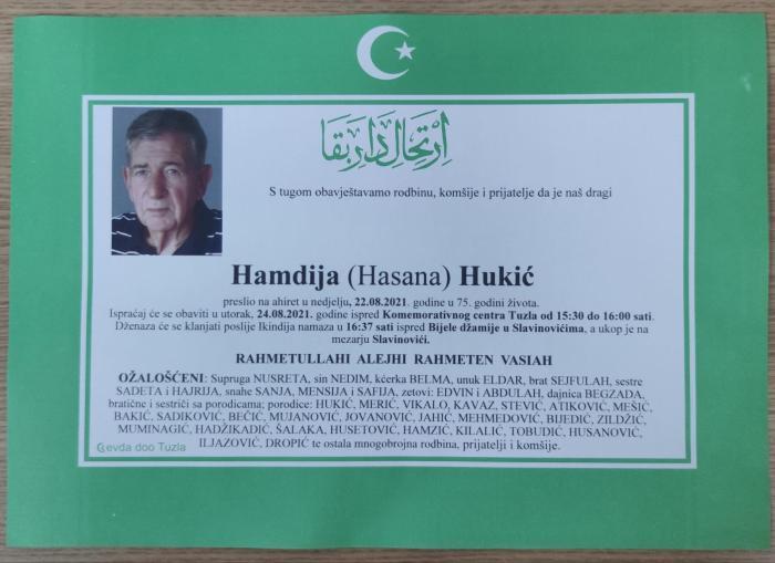 Preminuo je Hamdija Hukić