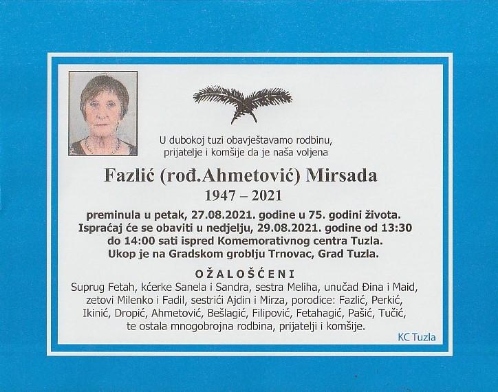 Preminula je Mirsada Fazlić