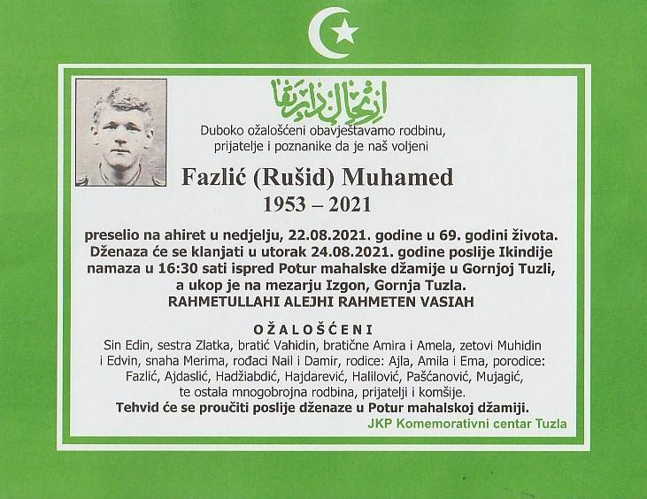 Preminuo je Muhamed Fazlić