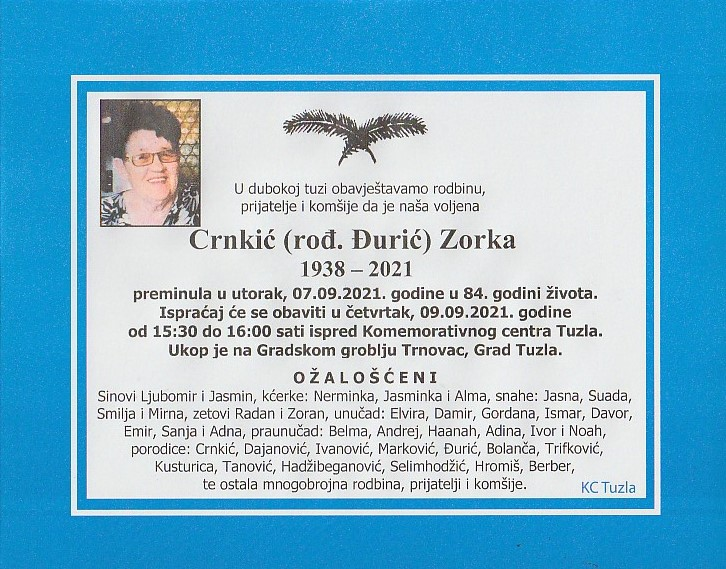 Preminula je Zorka Crnkić