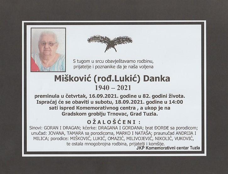 Preminula je Danka Mišković
