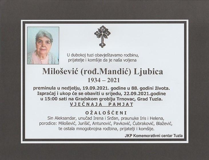 Preminula je Ljubica Milošević