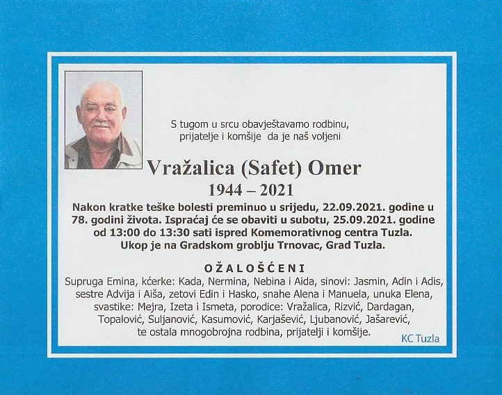 Preminuo je Omer Vražalica