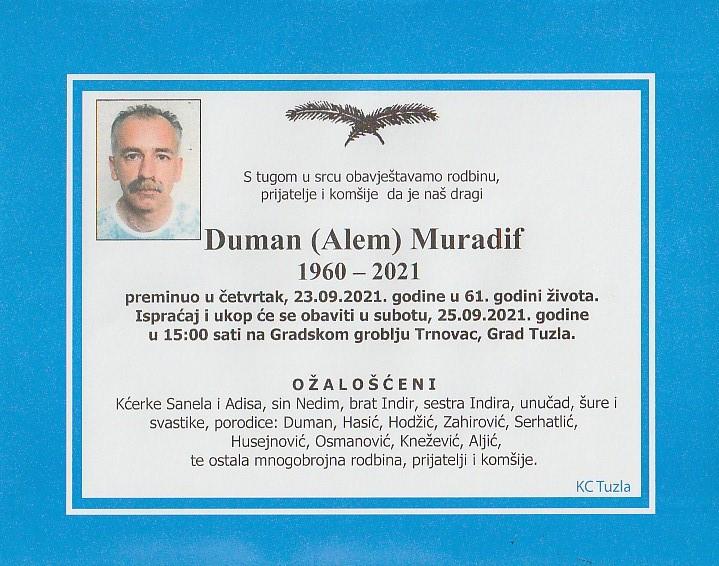 Preminuo je Muradif Duman
