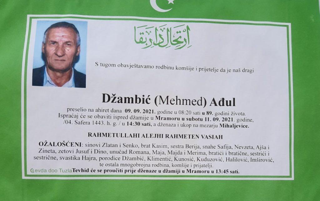 Preminuo je Ađul Džambić