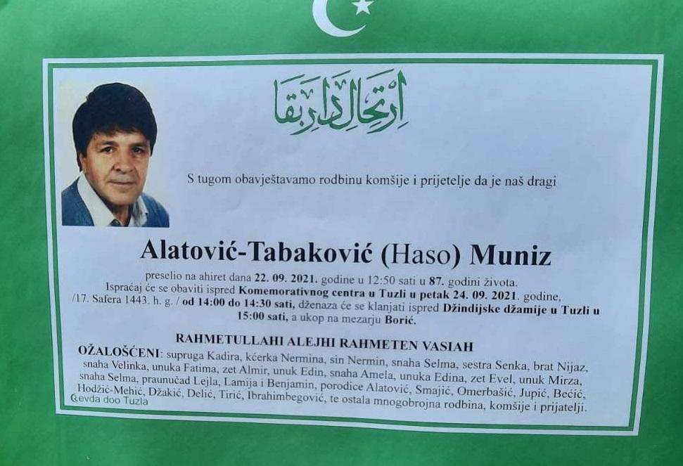 Preminuo je Muniz Alatović-Tabaković
