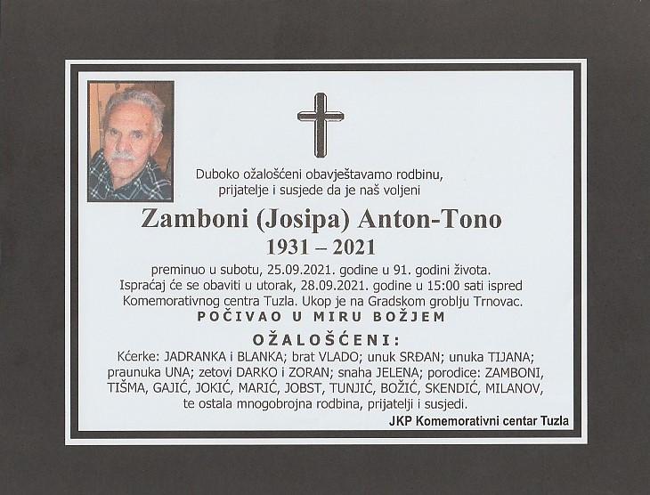 Preminuo je Anton Tono Zamboni