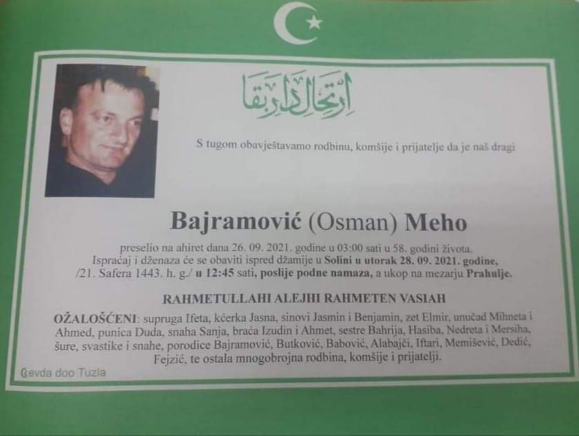 Preminuo je Meho Bajramović