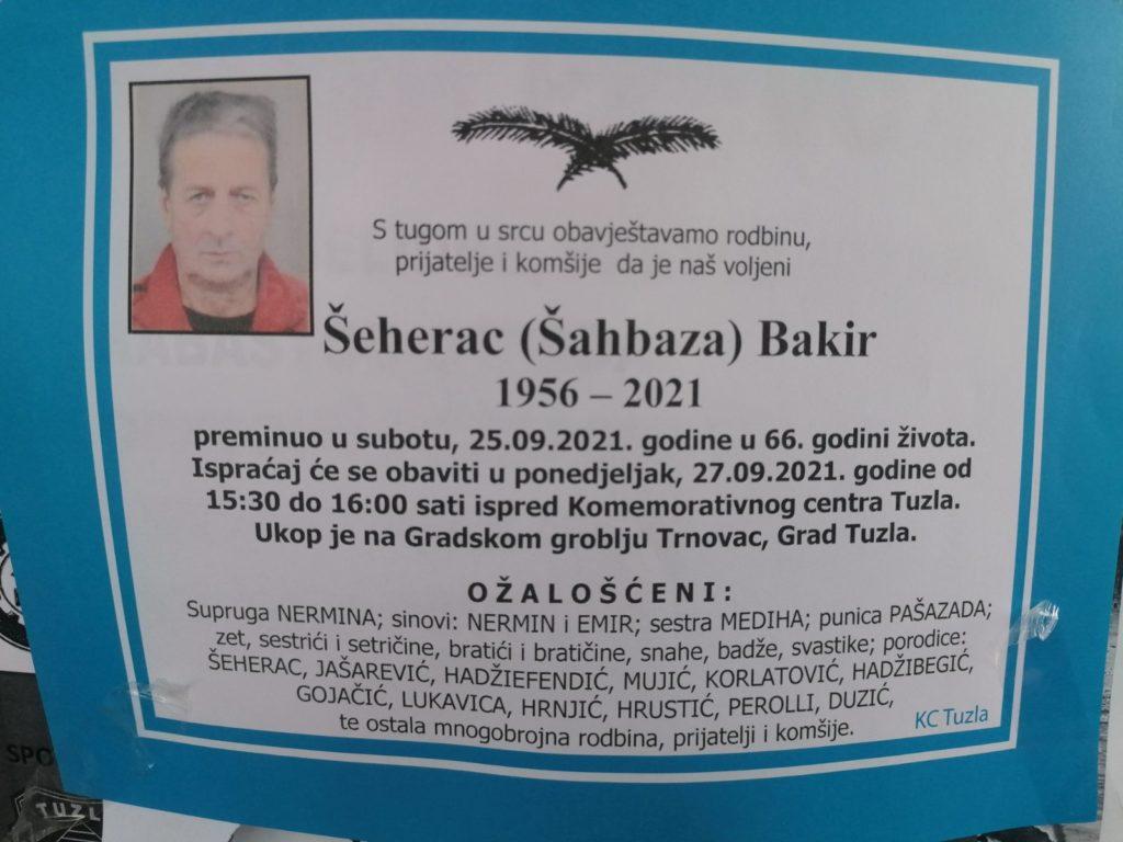 Preminuo je Bakir Šeherac