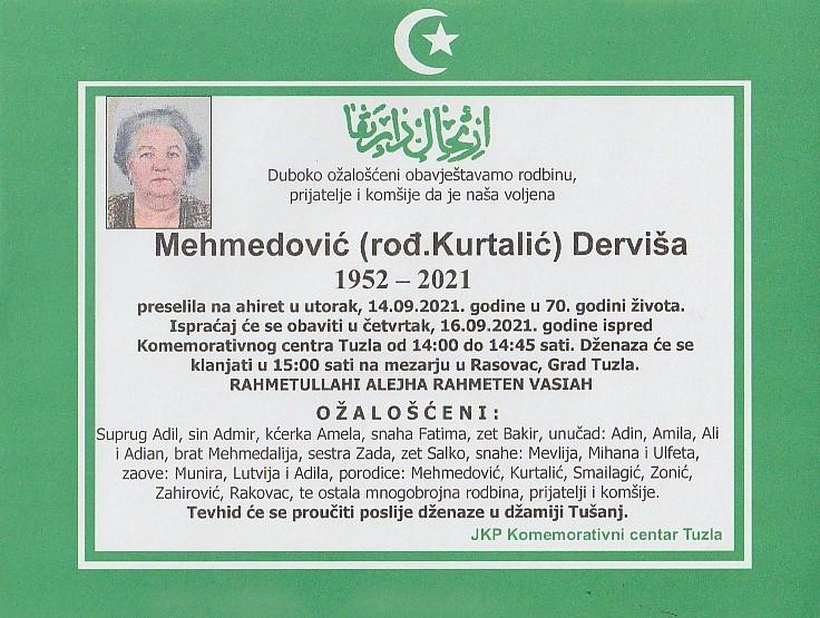 Preminula je Derviša Mehmedović