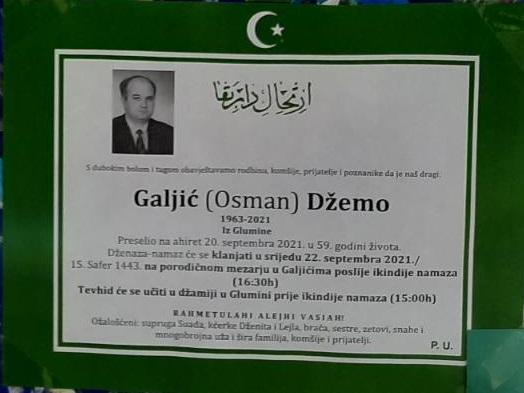 Preminuo je Džemo Galjić