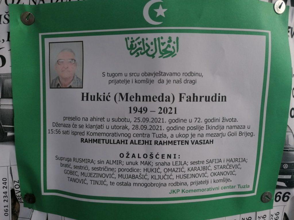 Preminuo je Fahrudin Hukić