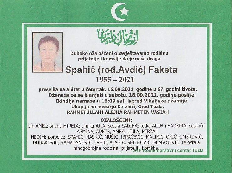 Preminula je Faketa Spahić