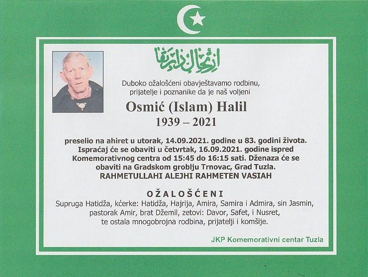 Preminuo je Halil Osmić