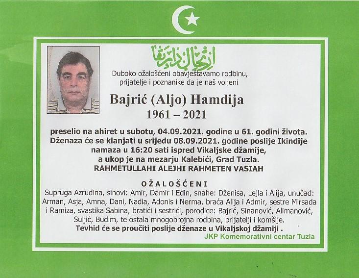 Preminuo je Hamdija Bajrić