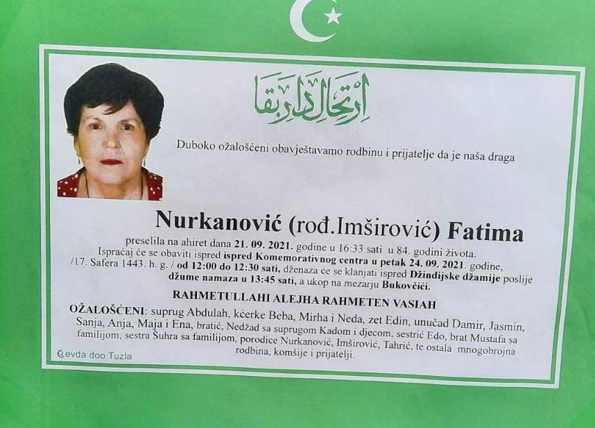 Preminula je Fatima Nurkanović