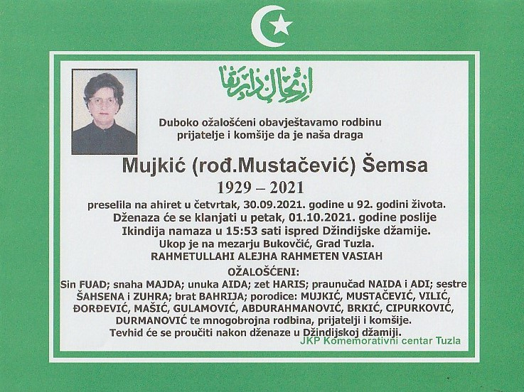 Preminula je Šemsa Mujkić